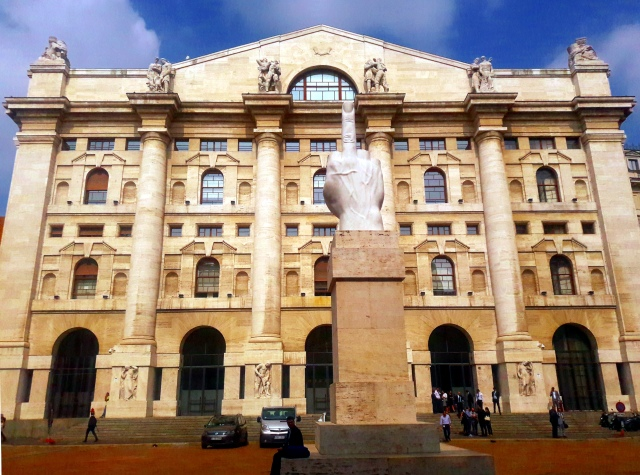 L.O.V.E. maurizio catellan milan stock exchange